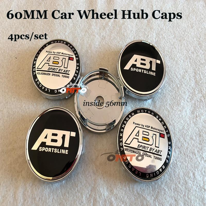 4pcs set 60mm emblem badge car Wheel hub center caps ABT Logo for Audi A1 A2
