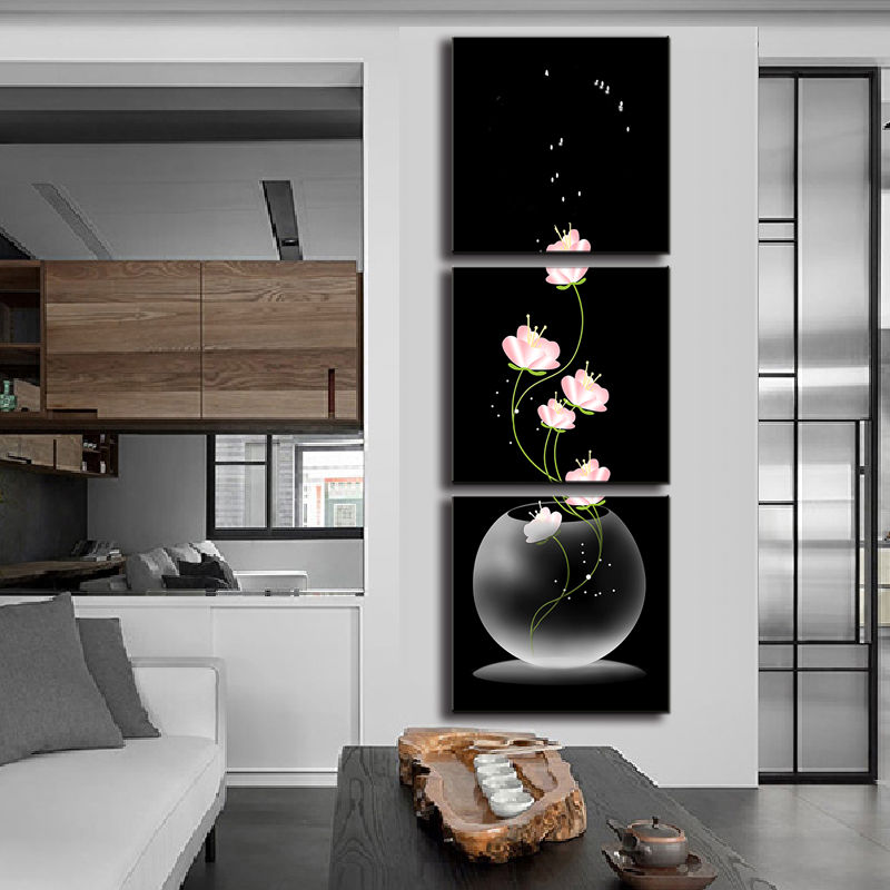 3 Pcs/Set Abstract Art Modern Wall Paintings FLowers Porch Vertical  Decorative Picture Wall Art Top Home Decoration In Painting U0026 Calligraphy  From Home ...