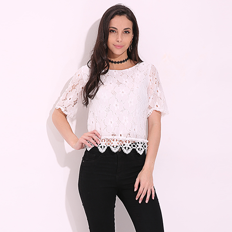 Women Lace Blouse Shirt Casual O Neck Top Sexy Half Sleeve White Blouse Ladies 2018 Summer Hollow Elegant Embroidery Blouses