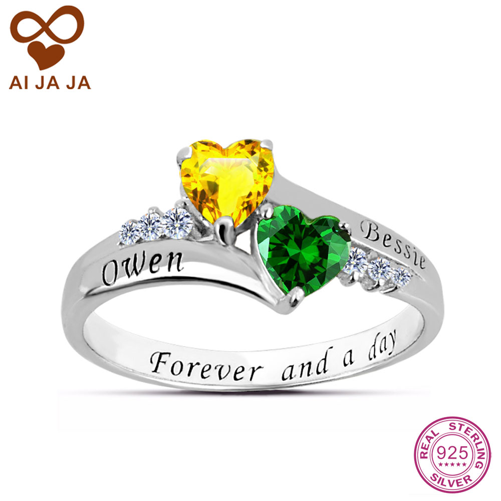 Aijaja 925 Sterling Silver Personalized Female Engagement Rings Customized  Names Engraved Birthstones Wedding Rings For Women