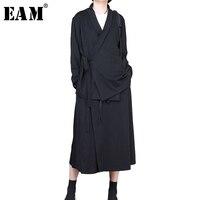[Eam] 2018新しい春vネック襟長袖黒固体ベルト緩い大きなサイズjackect女