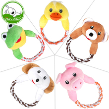 Dog Cat Puppy Plush Toys Interactive Pet Puppy Chew Squeaker Squeaky Dog Toy Sound Duck Frog Bear Pig Dog 5 Designs