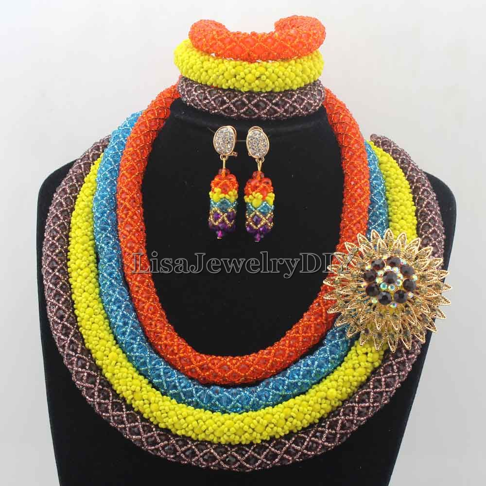 New Splendid 4 Layers African Costume Jewelry Sets Nigerian Traditonal Wedding Crystal Necklace Set Free Shipping HD7659