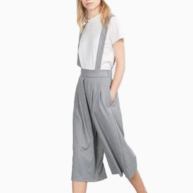 fade18c96f97 Women fashion Pinstripe Suspender pants England style pleated Wide Leg pants  All-Match Overalls plus trumpet loose pants