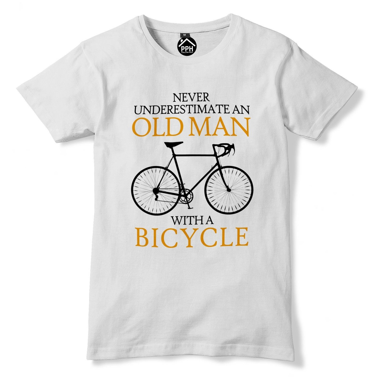 Never Underestimate Old Man BICYCLE Tshirt Mens Biker Retired Racer Tour De 222 ...