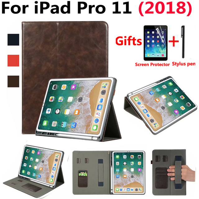the best attitude 54de2 cfa9a US $16.77 20% OFF|Premium Leather Case for Apple iPad Pro 11 2018 Case  Pencil Holder Sleep Wake Smart Cover for New iPad Pro 11 inch with Film  Pen-in ...