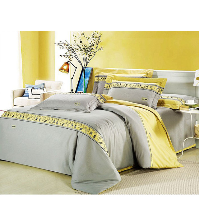 Modern Island Vacation Gray And Yellow 4pcs Hotel Bedspreads Bedding Set Queen King