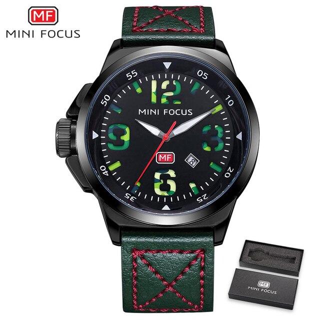 MINI FOCUS Men Watches Top Brand Luxury Quartz Watch Green Genuine Leather Strap Calendar Arabic Number Left-handed montre homme