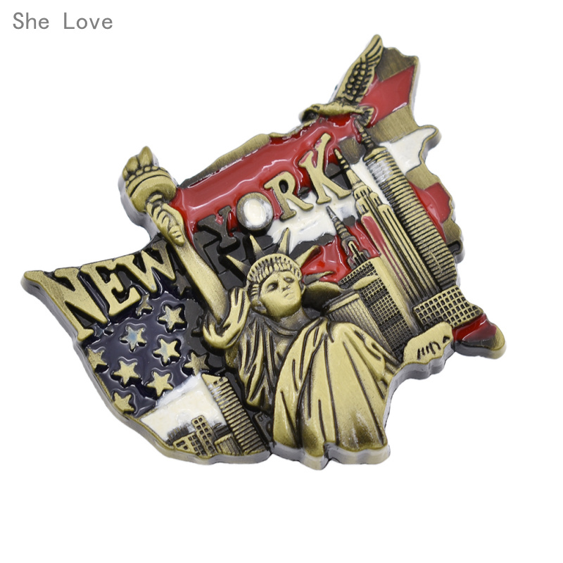 She Love 3D Metal Fridge Magnet United States New York Statue of Liberity Travel Souvenir Gift image