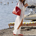2016 Nova Saída de Praia Cover-up Branco Chiffon Praia Kaftan Beachwear Vestido Longo Maiô Capa Ups Bikini Sarong