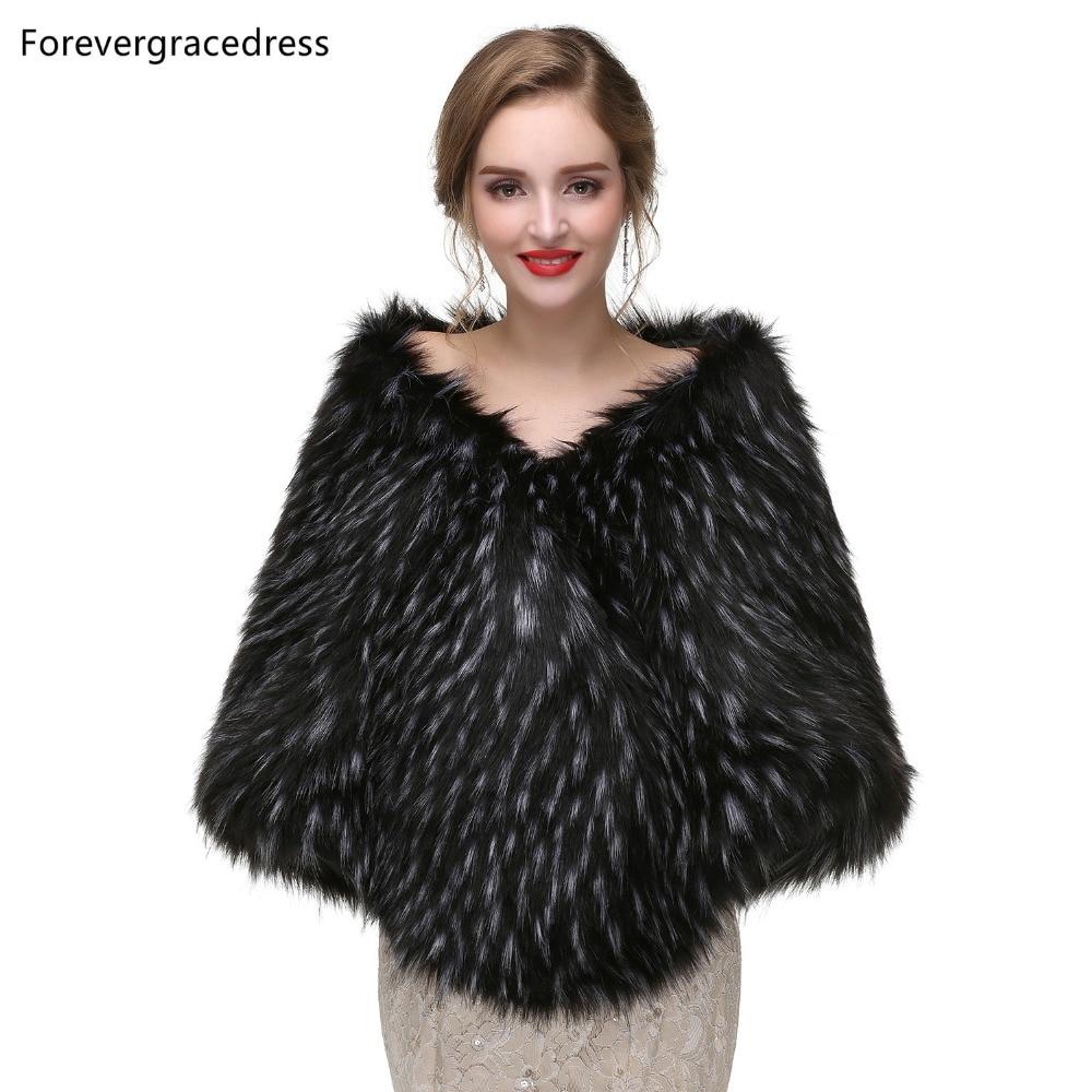 Forevergracedress 2019 Elegant Soft Autumn Winter Faux Fur Bride Wedding Wraps Bolero Jackets Bridal Coats Shawls Scarves PJ413