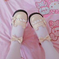 Japanese Kawaii Lolita Shoes Cute Bow Low Heel Round Head Flat Platform Shoes