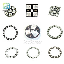 WS2812B RGB LED Ring Lamp 3 4 7 8 12 16 24 Bits Module Strip Light RGB with Integrated Drivers 24 X WS2812 5050 for Arduino sencart 3 led rgb light motorcycle car decoration handle lamp silver black 3 x lr44 2 pcs