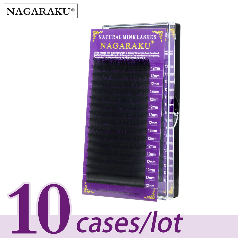 NAGARAKU 3D Mink Eyelashes Makeup Maquiagem 10 Cases lot 16 Rows Individual Eyelash High Quality Natural Soft Faux CilsFalse Eyelashes   -