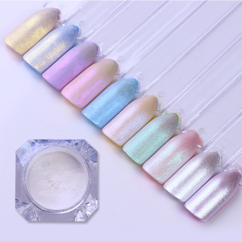 1box 1g Shell Pearl Nail Glitter Shiny Mirror Matte Shimmer Manicure DIY Pigment Powder Dust 3D Nail Art Decoration-in Nail Glitter from Beauty & Health
