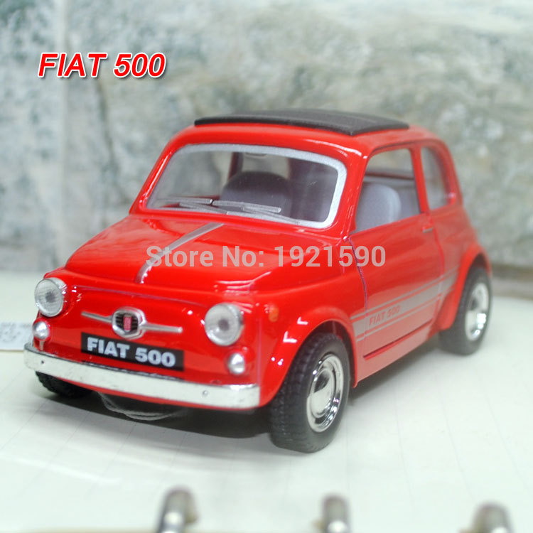 KT 1/24 Scale Car Toys FIAT 500 Diecast Metal Pull Back Car Model Toy For Gift/Collection/Kids