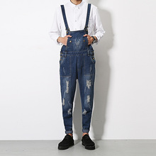 Mens jeans Jumpsuit Fashion casual denim bib Overalls Male Cool Overalls Harem Pants Hip-Hop Trousers Solid Color Jumpsuit Q202