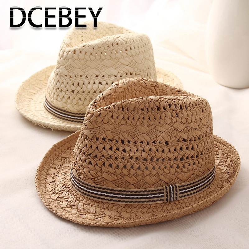 DCEBEY Handmade Weave Summer Hat For Women 2019 New Sweet Retro Sun Hat For Ladies Straw Hats Kid Panama Beach Hat Jazz Caps