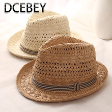 DCEBEY Handmade Weave Summer Hat For Women 2019 New Sweet Retro Sun Hat for ladies Straw Hats Kid Panama Beach Hat Jazz Caps недорого