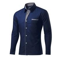 2016 Fashion Brand Mens Shirt Long Sleeve Solid Color Camisa Masculina Men S Clothing Casual Dress