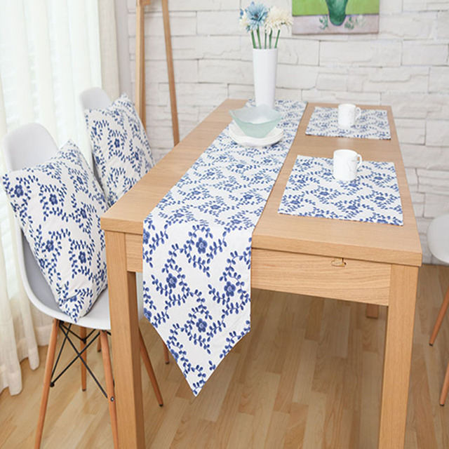 Blue White National Table Runner Cotton Fabric Table Runners Double