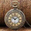 Antique Bronze Vintage número Roman colar quartzo relógio de bolso cadeia P08 presente de aniversário
