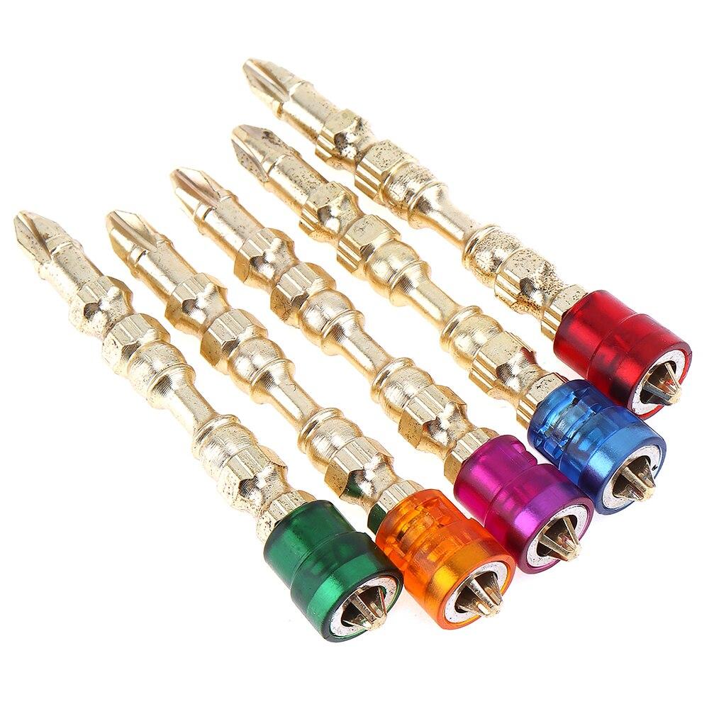 New 5pcs 65mm 1/4 Hex Shank Strong Magnetic Screwdriver Bit Titanium Screwdriver Color Cross Screwdriver Head