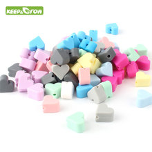 KEEP&GROW 50Pcs Silicone Beads Heart Shaped Silicone Teething Bead 14mm Baby