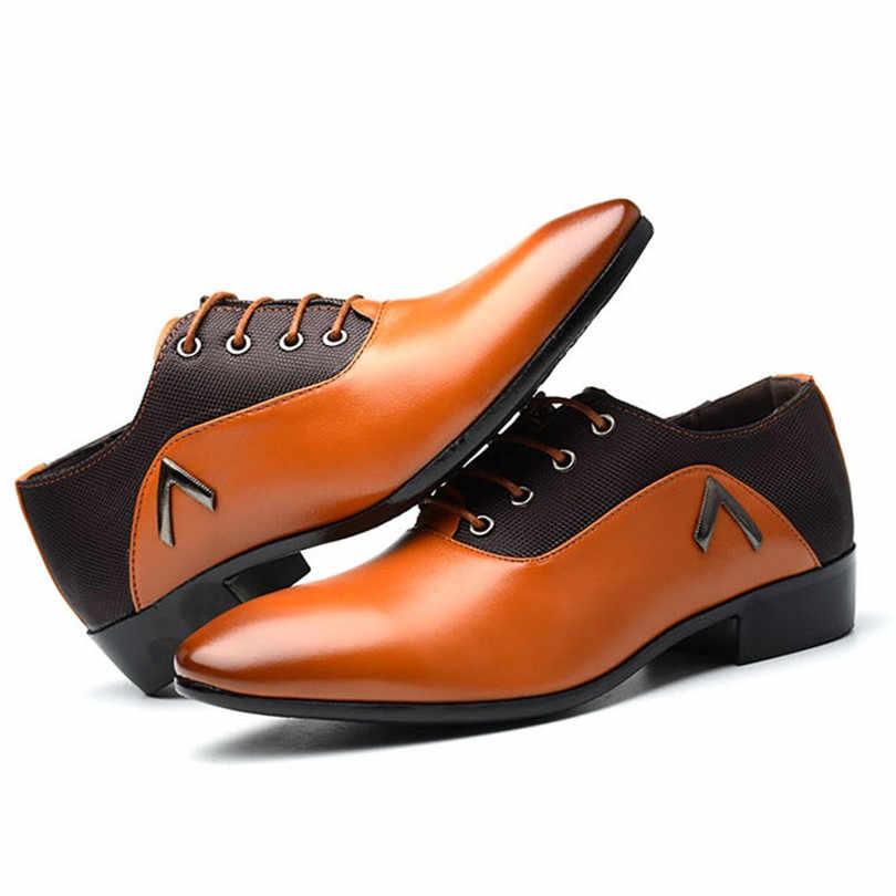 LIN KING แฟชั่นชี้ Toe รองเท้าขนาดใหญ่ 38-48 ชุดสำนักงานธุรกิจ Elegant Design หล่อ casual Oxfords