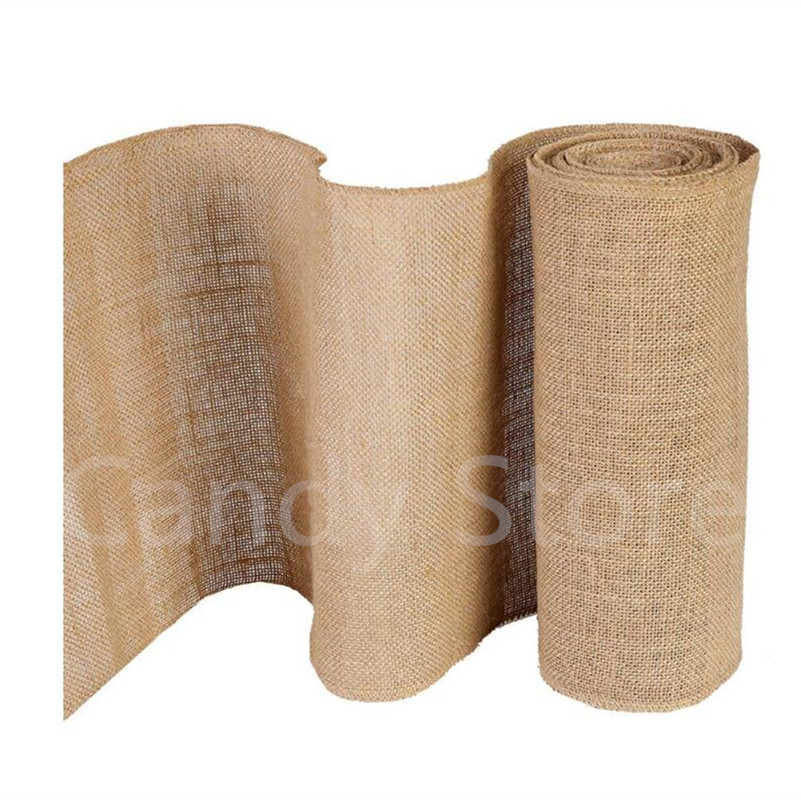 30cmX10Y High Quality Vintage Natural Burlap Jute Table Runner Lace For Dining Room Restaurant Table wedding decoration AA8219(China)