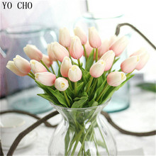 YO CHO 1PC PU Tulips Artificial Flowers Real touch artificiales para decora mini Tulip for Home Wedding decoration