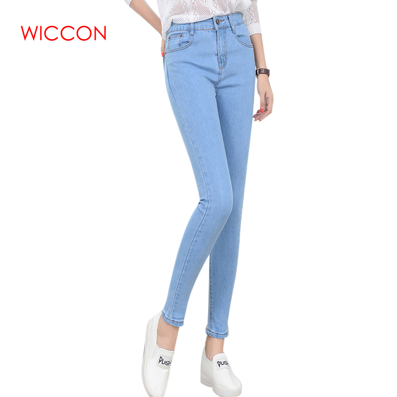 WICCON High Waist Elastic   Jeans   Women Hot Sale American Style Skinny Pencil Denim Pants Fashion Pantalones Vaqueros Mujer 2019