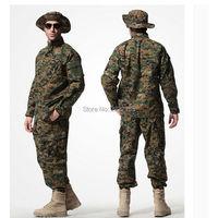 Tactical US Army Combat Uniform Woodland Digital Camouflage ACU Military Uniform CS Training Uniform shirt&pants For Hunting