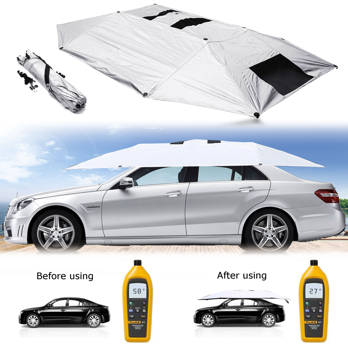 Portable Car Cover Umbrella Outdoor Removable Tent Umbrella Roof Cover UV Protection Kits Sunshade Cover Car Sun Shade Accessory foldable outdoor car tent umbrella sunshade roof cover cloth full automatic anti uv waterproof windproof replaceable car cover