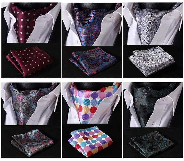 Ema comprobar Polka Dot Paisley Floral sólido seda de pata de gallo corbata tejida Ascot pañuelo pañuelo Set