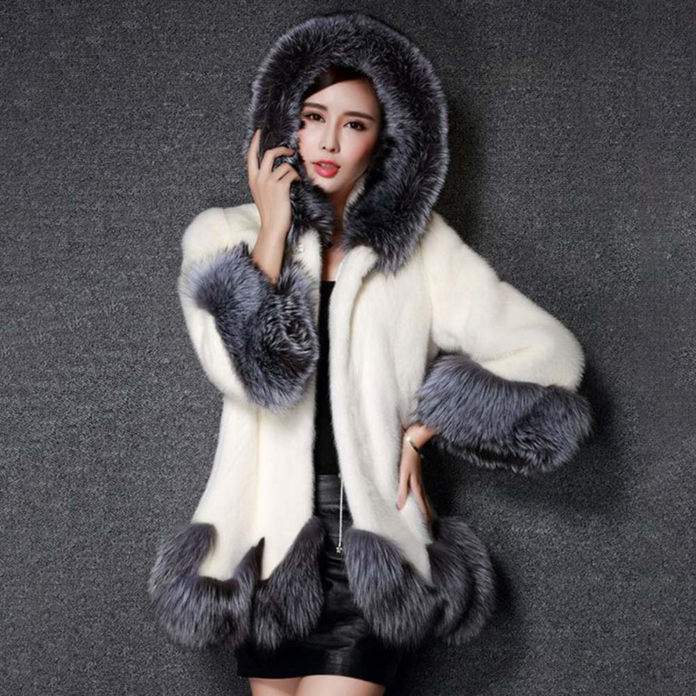 High Imitation Fur Coat Women Silver Fox Fur Collar Hooded Mink Fur faux fur Coat Medium-long Overcoat