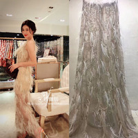New style French 3d beads lace fabric handmade lace African tulle mesh lace fabric wedding dress lace 2yard onelot