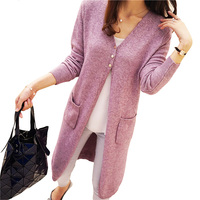 PEONFLY Long Cardigan Female Knitted Sweaters Cardigans Women Long Sleeve jersey Open Stitch Pockets jumper BLACK