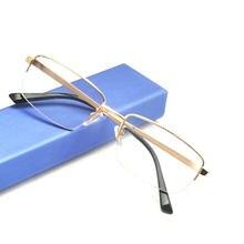 1e23bef50cf76 Mincl homens quadrados óculos de leitura Meia armação de metal retro ouro  óculos de leitura Hipermetropia com dioptria NX