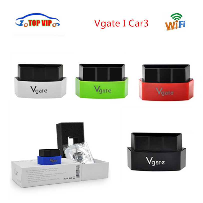 10pcs/lot Vgate iCar3 Wifi Elm327 obd Code Reader Support OBD2 Protocol Vehicle iCar 3 for iOS/Android/PC Free Shipping