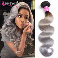 1/3/4 Bundles 1B/Grey 2 Tone Dark Roots Ombre Brazilian Hair Body Wave Weave Remy Hair Extensions Ombre Human Hair Bundles