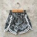 Retail 2016 summer baby girls fashion beach shorts floral cotton ball shorts
