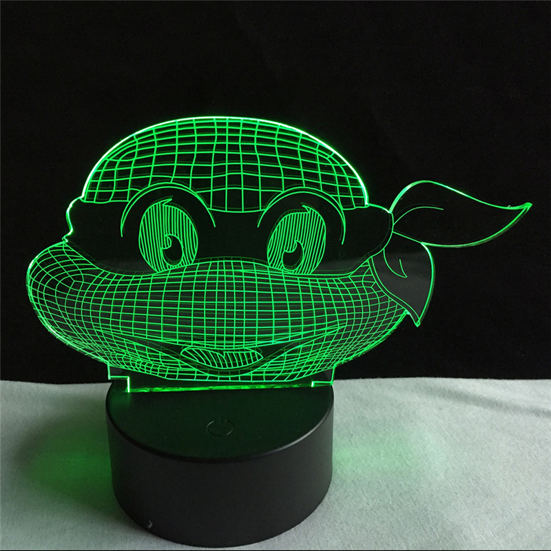Acrylic 7 Color Changing Ninja turtles 3D LED nightlight of bedroom lamp livingroom lights desk table Decor Night Light Kid Gift