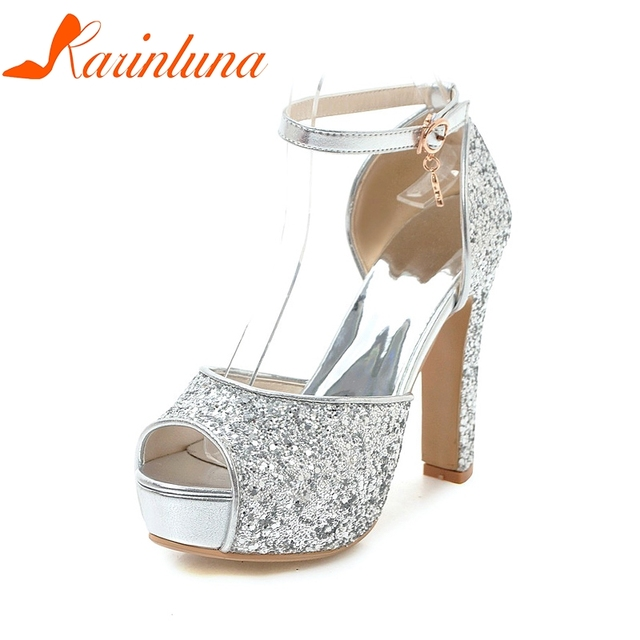 8228882516554d KARINLUNA Large Size 31-43 Sexy Dropship Bling Women Shoes Woman Fashion High  Heels Platform Party Summer Sandals Shoes