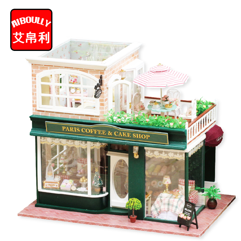 Oyuncaklar ve Hobi Ürünleri'ten Oyuncak Bebek Evleri'de Ahşap Dollhouse Minyatür 3D Kitleri Paris Kahve Kek Dükkanı Modeli mobilya Gösterisi Fotoğrafları Ses kontrol Anahtarı LED Müzik kutusu H022'da  Grup 1