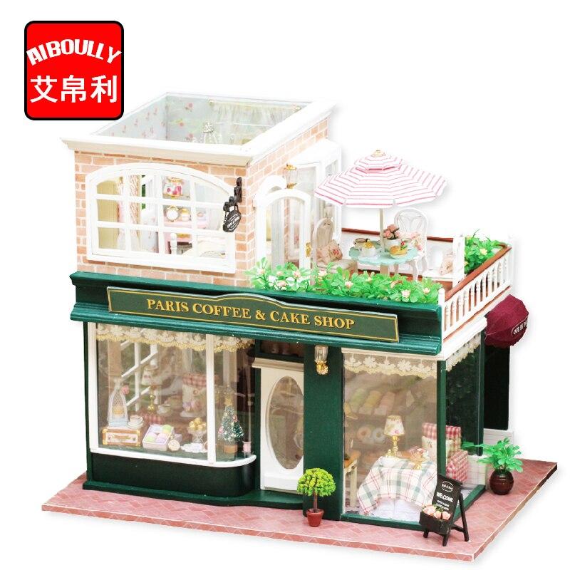 Drewniany domek dla lalek miniaturowe 3D zestawy paryż ciasto do kawy sklep modelu meble pokaż zdjęcia kontrola dźwięku przełącznik LED muzyka pudełko H022 w Domy dla lalek od Zabawki i hobby na  Grupa 1