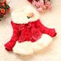 Lujo faux fur coat fox cuello de piel patrón de escamas de pescado chaqueta bebé ropa de abrigo niños prendas de abrigo de otoño invierno de lana