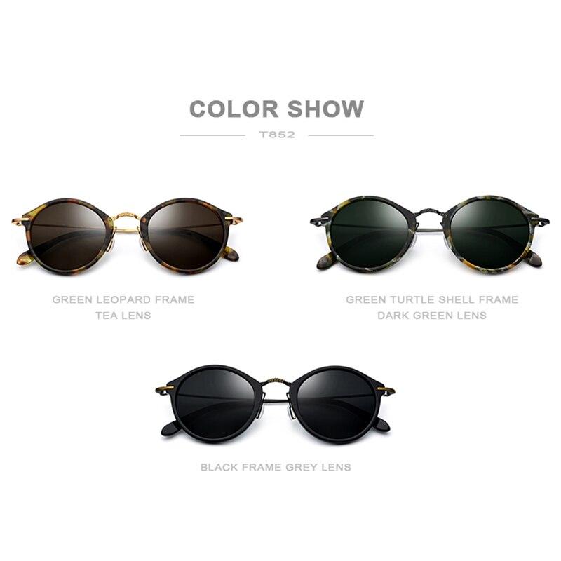 FONEX élastique B titane lunettes de soleil polarisées femmes marque Designer 2019 Vintage rond lunettes de soleil pour hommes rétro acétate lunettes de soleil - 5