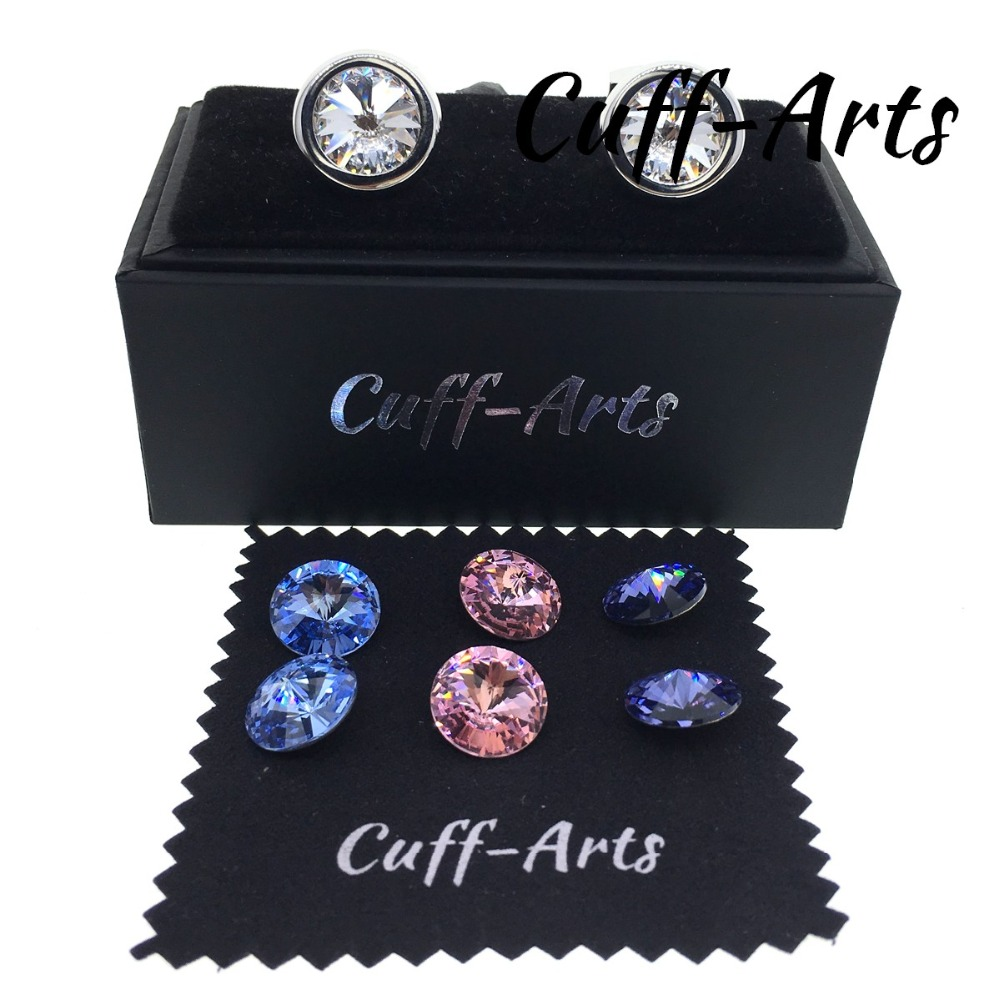 Cuffarts Swarovski Crystal Round Cufflinks For Men Scewed to Change Crystals 1 Pair Cufflinks with 4 Pair Crystals And a Box