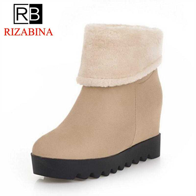 RizaBina Women Snow Boots Plush Fur Warm Shoes Woman Winter Thick Bottom Ankle  Boots Inside Heel 3871bb4a9db0